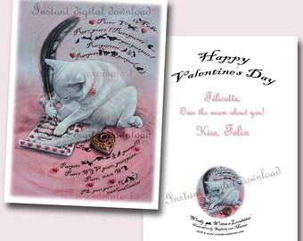 Valentines E-card * Cat writes Loveletter * Burmees schrijft Liefdesbrief * Ganzenveer * Inktpot * Quill pen * Valentijns E-kaart * Burmese