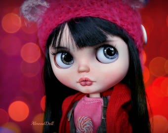 Red Berry -custom ooak blythe doll, unique art doll by AlmondDoll