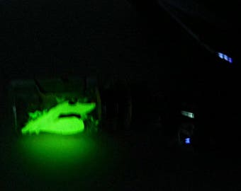 Glow in the Dark Ghost Dog Cell Phone Charm/Dust Plug, Handmade, Hand Sculpted