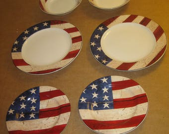 """Warren Kimble """"Colonial"""" set of plates and bowls   [6582bs]"""