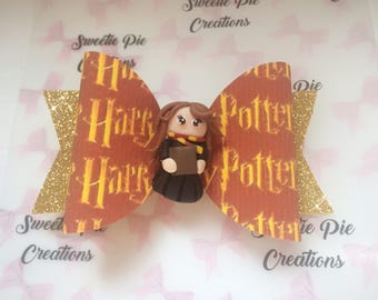 Harry Potter inspired - bow              handmade - Hermione charm       glitter bow - headband - hair clip - Harry Potter gift