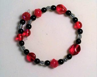 Red, Black, and Silver Memory Wire Bracelet