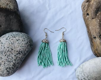 Seafoam beaded earrings