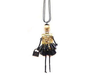 Doll pendant necklace - black and gold