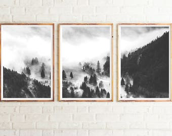 Set of 3 Prints, Forest Print, Black and White, Woodland, Nature Prints, Misty Forest, Modern Prints, Fog Forest Print, Digital Prints