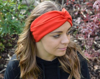 Workout Headband, Red, Jersey Headband, Twisted Headband, Yoga Headband, Turban Headwrap, Boho Headband, Wide Headband, Stretchy Headband