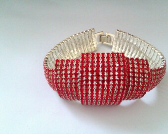 deco style silver coloured red glass bead bracelet