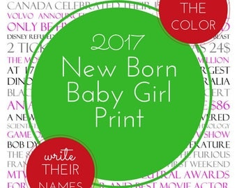 New Born Baby Girl Birthday Digital Print 2017 Custom Printable Gift