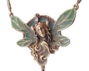 Art Nouveau Gaston Laffite Plique a jour 18k gold necklace