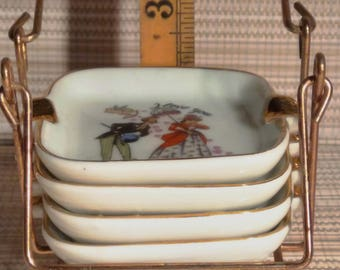 Love-themed vintage set of pin trays or ash trays in metal stand