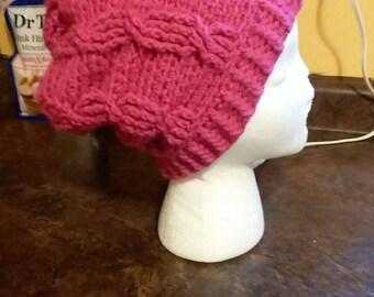 Slouchy hat pink crochet