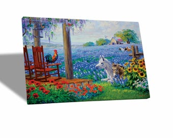 Canvas paintings Canvas-Mikki Senkarik-Landscape with animals-yellow BUS