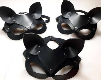 leather cat mask handmade for petplay cosplay jr party