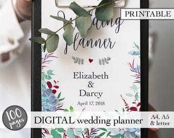Printable wedding planner, Wedding planner printable, Wedding planning book, Wedding binder, Engagement gift, PDF download, Bridal gift idea