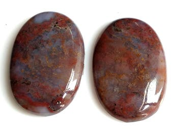 Blood Stone,Oval Pair, Cabochon, Size-25x17 MM Natural, Blood Stone, AAA, Quality,Loose Gemstone, Smooth Cabochons.