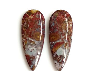Plum Jasper Pear Pair Cabochon,Size- 30x11, MM, Natural Plum Jasper, AAA,Quality  Loose Gemstone, Smooth Cabochons.