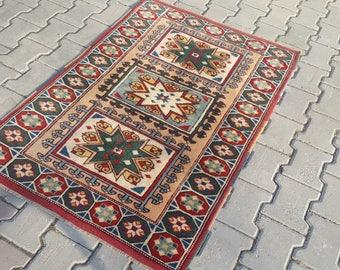 Small Rug,2'8x4'2 ft,88x130 Turkish Rug,Oushak Rug,turkish rug,Knot Rug,Pile Rug,,Bohemian Rug,Anatolian Vintage Rug,Turkish,1142