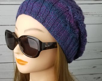 slouchy hat, beanie hat, mermaid slouch,  winter hat, knit slouch, wool, womens slouch, womens hat, womens knitted hat