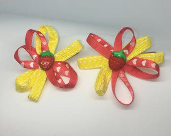 Duo Hair clips  Alligator Strawberry
