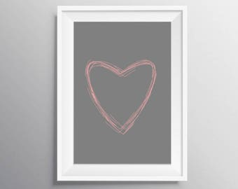Printable art, Pink heart poster, Pink gray print, Gray heart print, digital download, Heart print, Girl herat wall art, Instant download