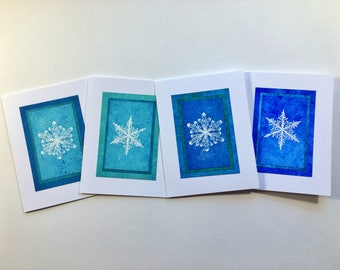 Snowflake blues blank cards (set of 4), individually handmade: A2, holiday cards, solstice cards, SKU BLA21060