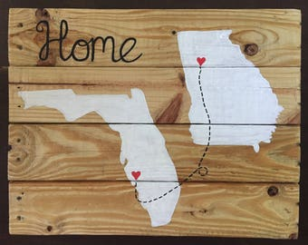 Custom fl state/home pallet wood sign 18in x 12in