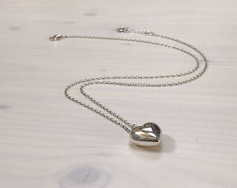Sterling silver heart pendant necklace with personalised initial heart extension