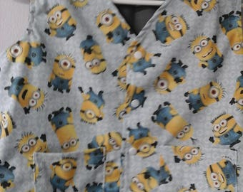 Sz 10 Weighted Vest for Child w/Special Needs and Sensory Issues. Minions on Gray Print
