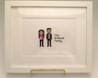Couple Gift, Valentine, Wedding Gift,Housewarming,Family Gift,Shower Gift,Personalized Family Gift,Cross Stitch Family,Anniversary Gift,