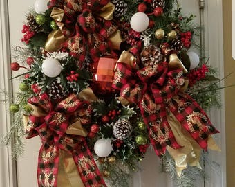 Beautiful Evergreen Christmas Wreath with lots of embellishments