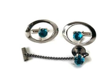 Vintage Silver Sapphire Cuff Link Tie Tack Set