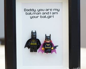 Batman, Lego, Superhero, gift, daddy, gift for him, lego minifigures, for valentine, father's day, anniversary, birthday inspired by LEGO