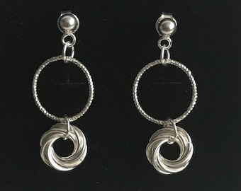 Mobius chainmaille with diamond cut ring sterling silver earrings