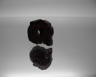 "Natural Baltic amber engraved bead ""Dragon"" with 4,5mm hole"