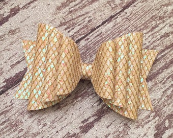 Triple Mermaid Scales, Glitter, Glitter Bow