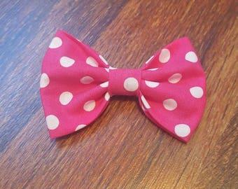 Pink and white polkdot bow/ polkadot bow