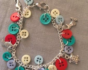Sea Charm and Button Bracelet