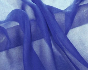 Super soft Pure Mulberry Silk Solid Color Colbat Blue pure silk chiffon fabric material sheer # hac 47,