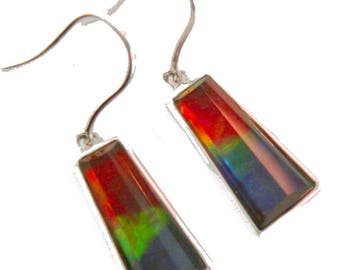 Pair of Natural large Bell Shaped Canadian AAA Ammolite earrings set on Sterling Silver.