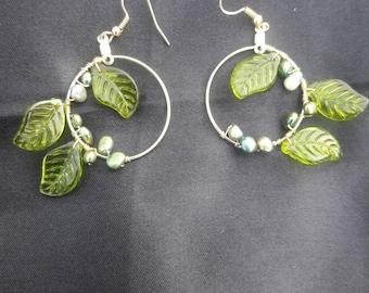 Green Leaf Earrings - Handmade fun to wear!