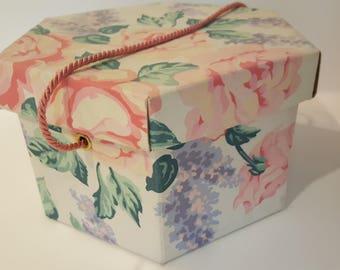 Pink Roses purple lilac vintage storage Box // fabric on cardboard hat box // cottage boho Flowers // little girls room or nursery storage