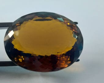 Natural Loose Gemstones Brandy Citrine   Oval Shape 42 Carat    26 x 21 x 12 MM