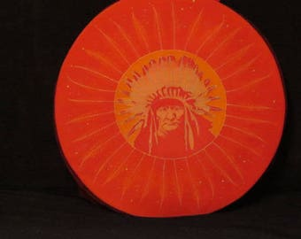 bag or case drum shamanic... from 42 to 43 cm in diameter orange Indian or native American