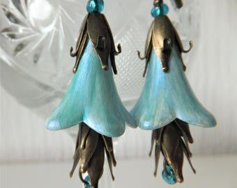 Aqua Earrings,Long dangle Earrings,Wedding Earrings, Victorian Earrings, Boho Style, Lucite Bellflower,Handpainted, Unique Earrings
