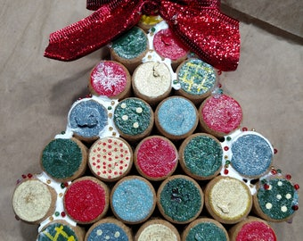 Recycled wine cork Christmas tree