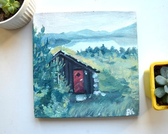 original oil painting, lake painting, small painting, landscape, original painting, tiny house painting, oil on  canvas, small canvas
