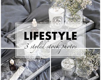 3 STYLED STOCK PHOTOS - perfect for your blog / website / social media - bundle with 3 stock photos - grays and marble