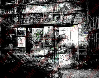 Car in Front of Bar, Artwork, Digital Painting,Digital Art, Art Prints or License for Art Prints