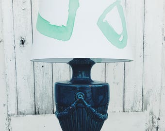 X Large 'BERTIE' Hand-painted Lampshade- Green