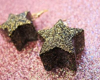 Black and Gold Starburst Dangle Earrings